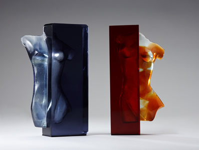 glass female torso lost wax
